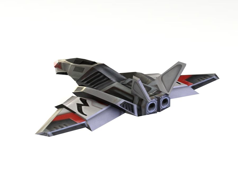 Scifi Fighter lowpoly royalty-free 3d model - Preview no. 11