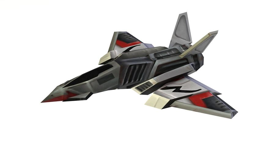 Scifi Fighter lowpoly royalty-free 3d model - Preview no. 3