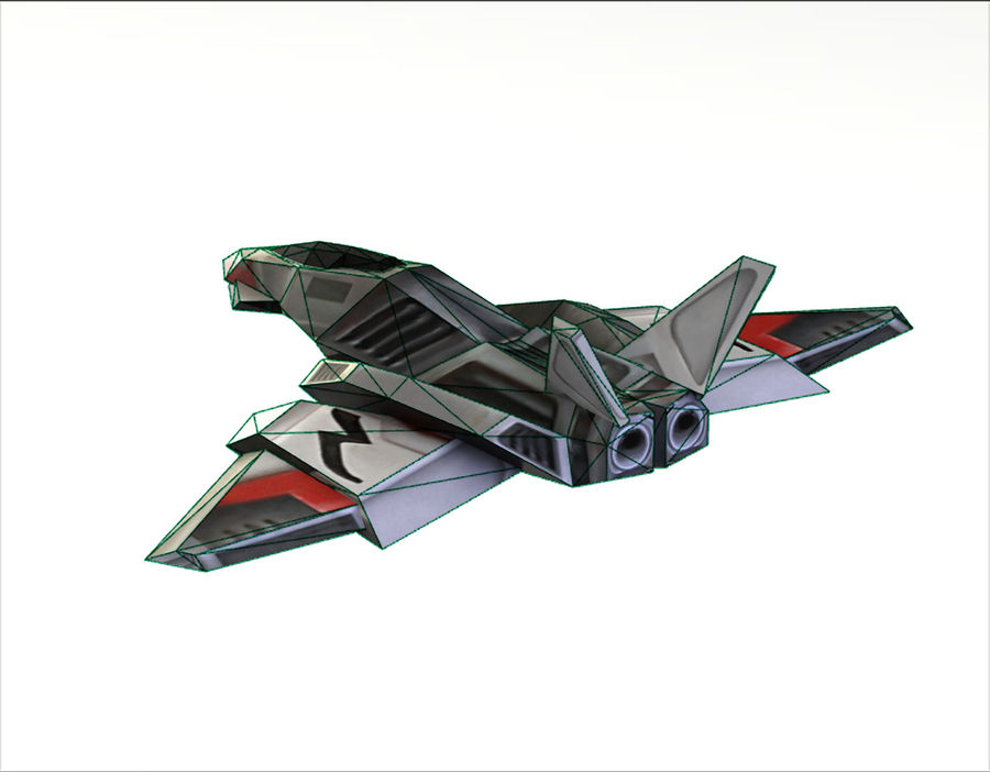 Scifi Fighter lowpoly royalty-free 3d model - Preview no. 8