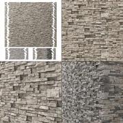 Bakstenen muur graniet vele n3 3d model
