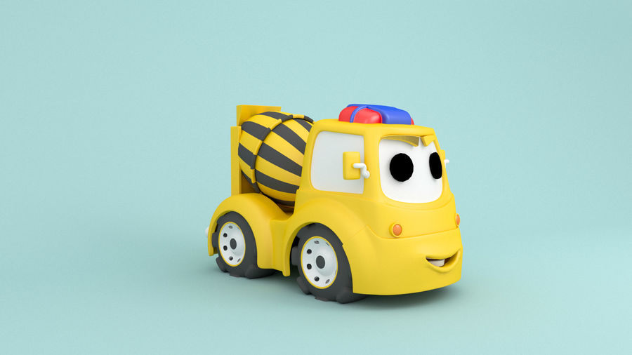Cartoon car construction vehicles royalty-free 3d model - Preview no. 6