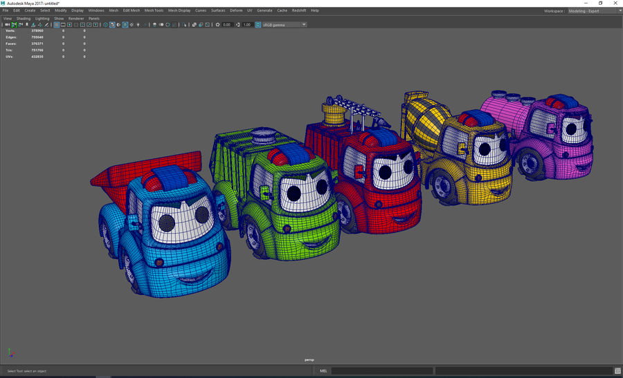 Cartoon car construction vehicles royalty-free 3d model - Preview no. 7