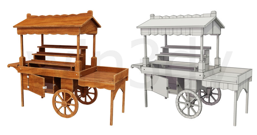 Wooden display cart 3D model royalty-free 3d model - Preview no. 8