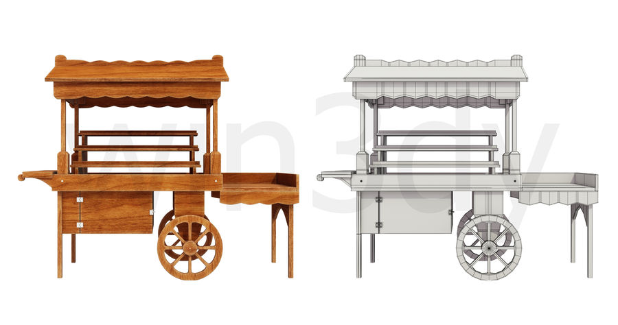 Wooden display cart 3D model royalty-free 3d model - Preview no. 2