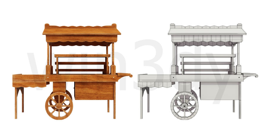 Wooden display cart 3D model royalty-free 3d model - Preview no. 7