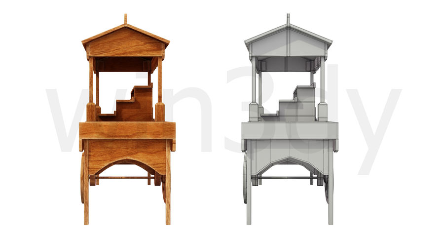 Wooden display cart 3D model royalty-free 3d model - Preview no. 3