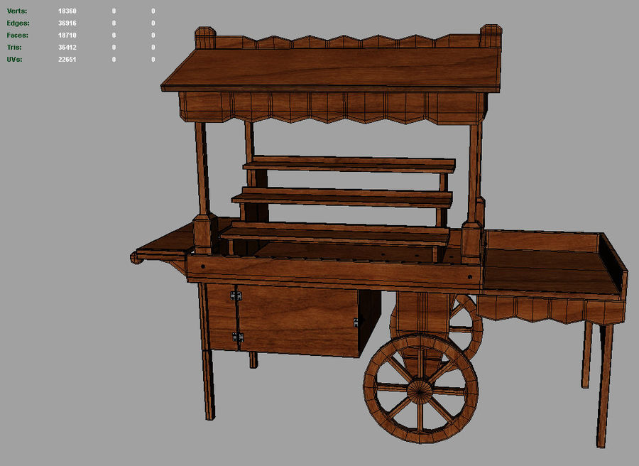 Wooden display cart 3D model royalty-free 3d model - Preview no. 9