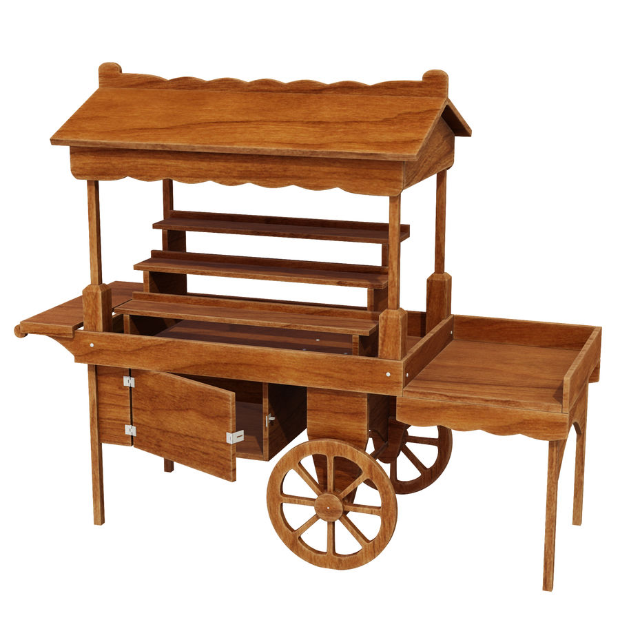 Wooden display cart 3D model royalty-free 3d model - Preview no. 1