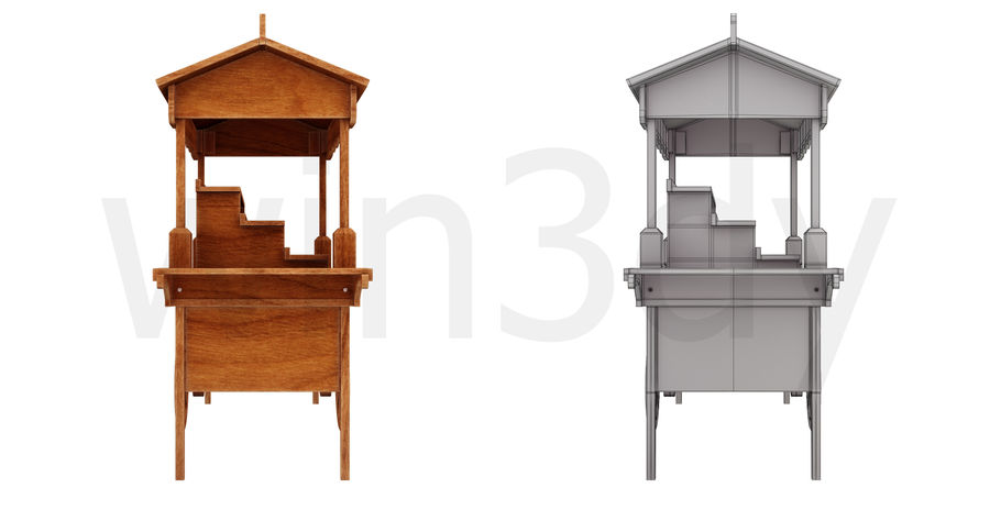 Wooden display cart 3D model royalty-free 3d model - Preview no. 6