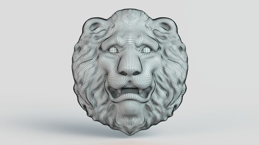 Lion Head royalty-free 3d model - Preview no. 4