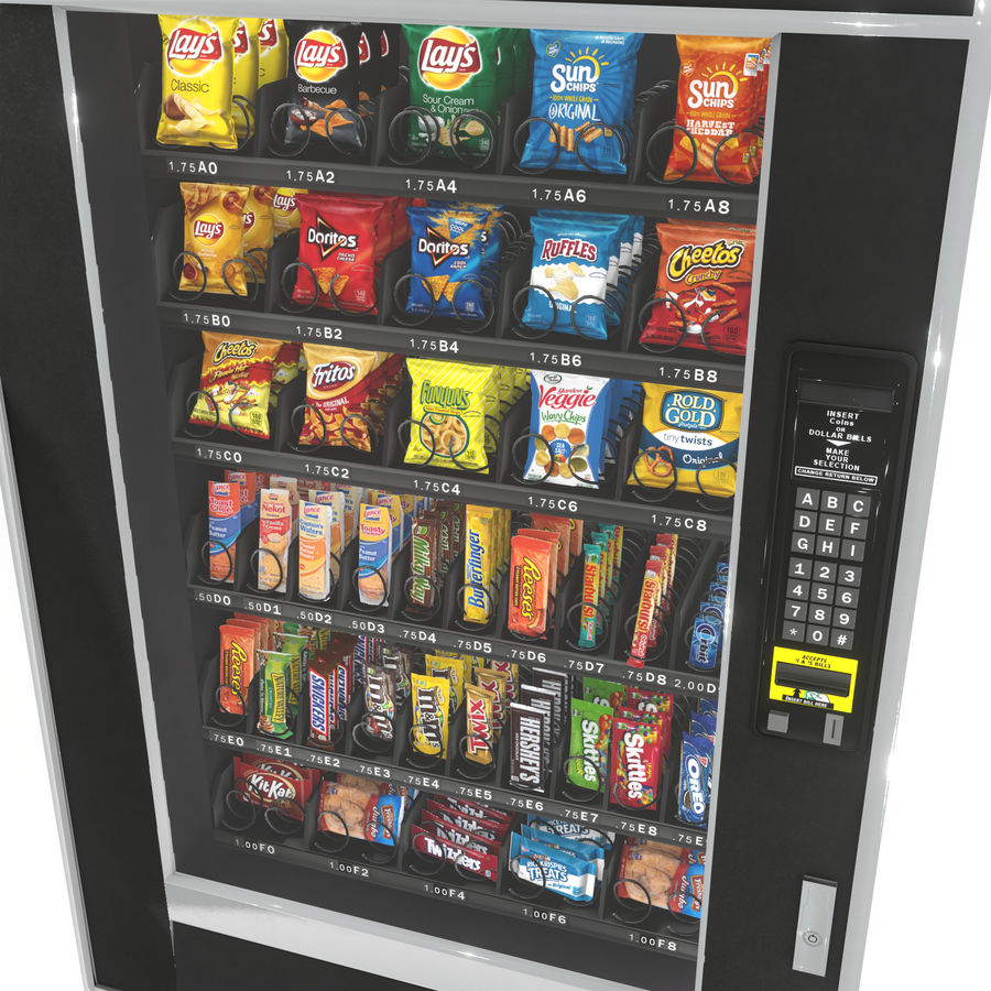 Varuautomat med mellanmål / godis royalty-free 3d model - Preview no. 8