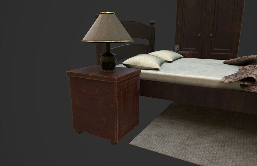 Old Bedroom furniture royalty-free 3d model - Preview no. 8