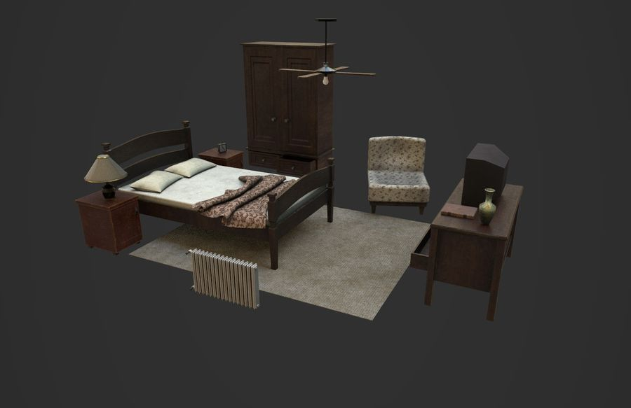 Old Bedroom furniture royalty-free 3d model - Preview no. 1