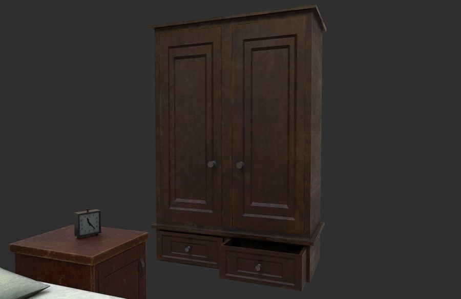 Old Bedroom furniture royalty-free 3d model - Preview no. 9