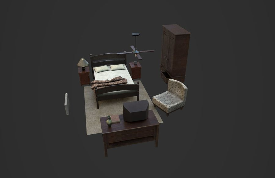 Old Bedroom furniture royalty-free 3d model - Preview no. 5