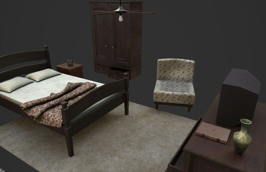 Old Bedroom furniture royalty-free 3d model - Preview no. 12