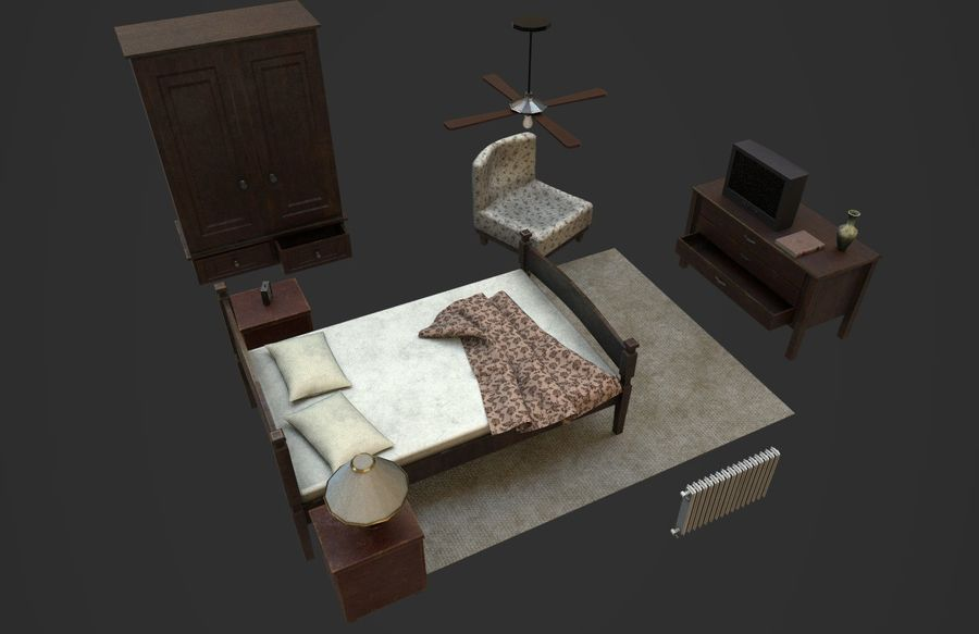 Old Bedroom furniture royalty-free 3d model - Preview no. 4
