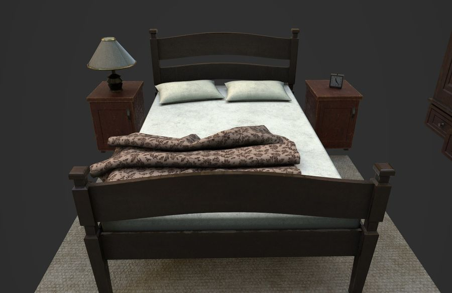Old Bedroom furniture royalty-free 3d model - Preview no. 6