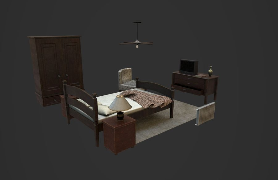 Old Bedroom furniture royalty-free 3d model - Preview no. 2