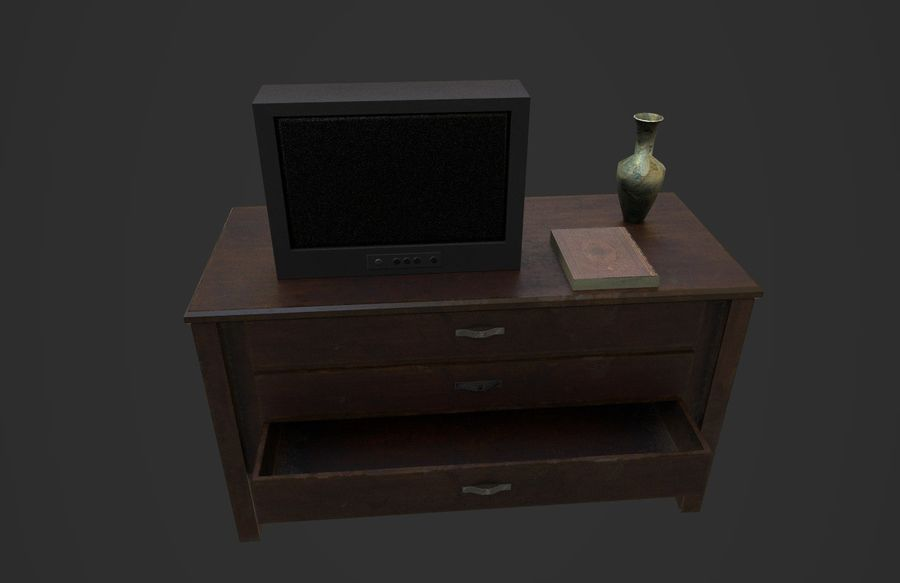 Old Bedroom furniture royalty-free 3d model - Preview no. 10