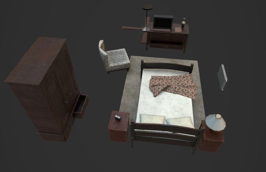 Old Bedroom furniture royalty-free 3d model - Preview no. 3