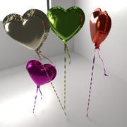 무작위 색깔 심혼 모양 알루미늄 풍선 3d model