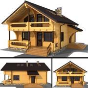 Trähus - rundad stock 3d model
