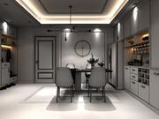 Sala de estar com mobília de jantar 3d model