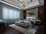 中国传统风格的卧室和家庭办公室 3d model
