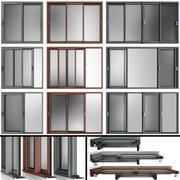 Раздвижные витражные алюминиевые окна 3d model