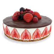 ベリーとイチゴのケーキ 3d model
