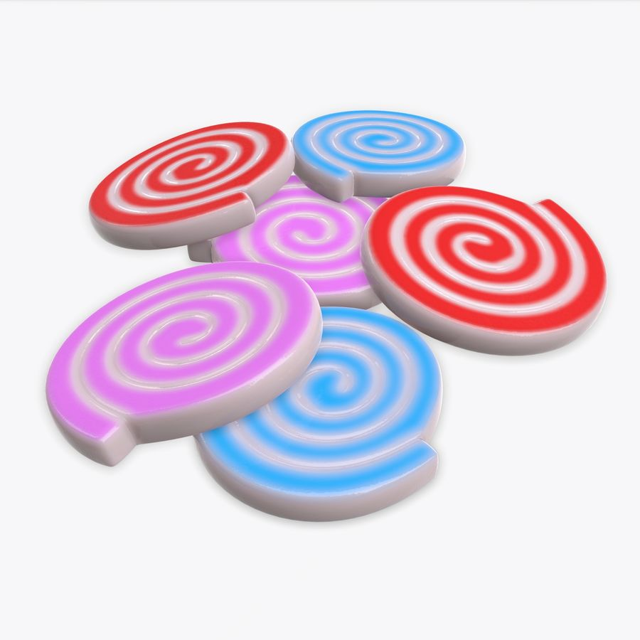 Colorful twisted candies royalty-free 3d model - Preview no. 1