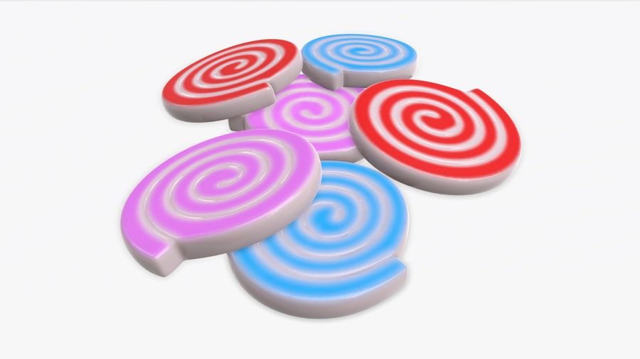 Colorful twisted candies royalty-free 3d model - Preview no. 2