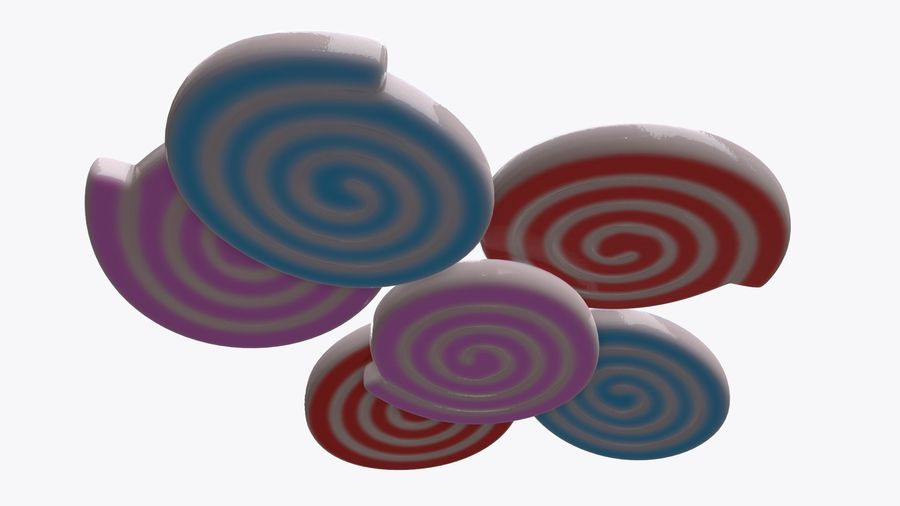 Colorful twisted candies royalty-free 3d model - Preview no. 5