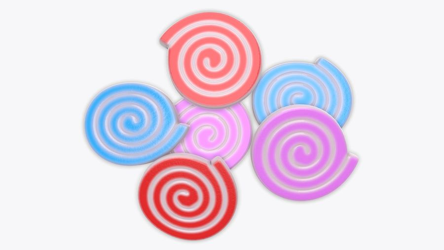 Colorful twisted candies royalty-free 3d model - Preview no. 4