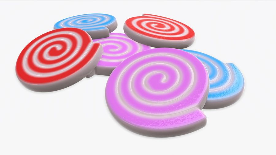 Colorful twisted candies royalty-free 3d model - Preview no. 3
