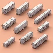 Pappersbussar 3d model