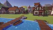 低聚中世纪村庄 3d model