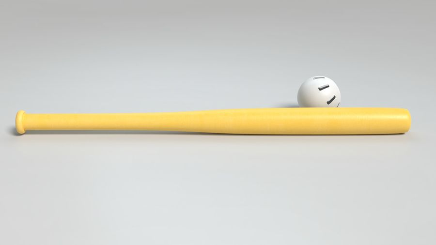 Wiffelball und Fledermaus royalty-free 3d model - Preview no. 4