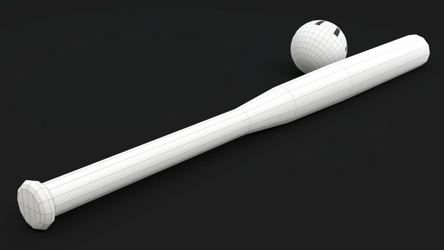 Wiffelball und Fledermaus royalty-free 3d model - Preview no. 12