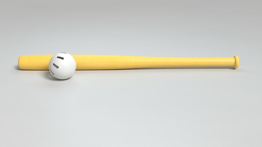 Wiffelball und Fledermaus royalty-free 3d model - Preview no. 7