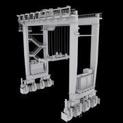 Портальный кран RTG низкополигональный 3d model