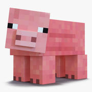 Minecraft Pig Rigged для Cinema 4D 3d model