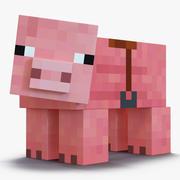 Свинья Майнкрафт с Седловой оснасткой для Cinema 4D 3d model