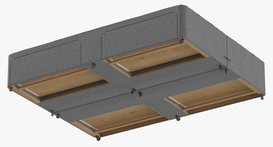 Bed Base 03 Grey royalty-free 3d model - Preview no. 9