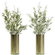 シンプルなガラスのリブ付き花瓶のオリーブの茎 3d model
