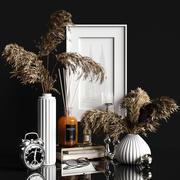 Dekoratives Set mit trockenen Pflanzen 2 3d model