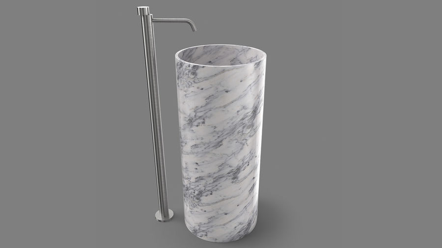Boffi PH Stone Sink e Boffi Eclipse High Faucet royalty-free 3d model - Preview no. 2