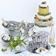 Champagne dekorativ set 2 3d model
