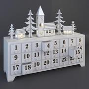 時間概念による引き出し付き木製アドベントカレンダー 3d model